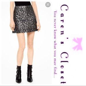 NWOT Micheal Kors Silver & Black Mini Skirt